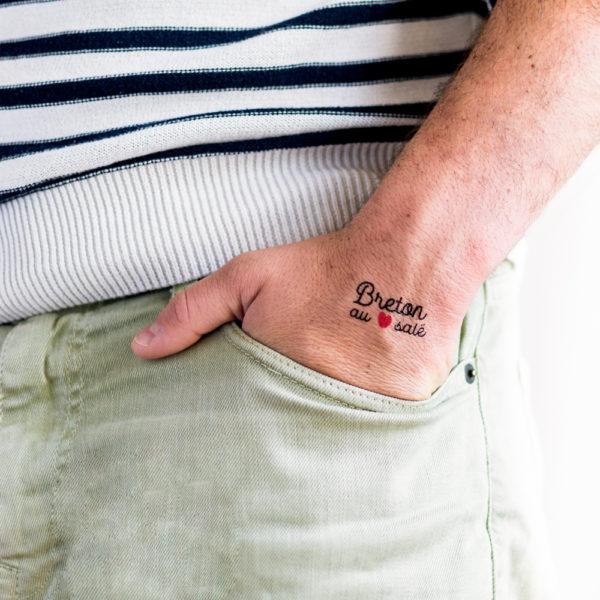 tatouage ephemere breton au coeur salé